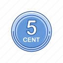 cents, coins, five cent, money icon
