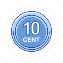 cents, coins, money, ten cents icon