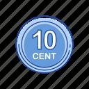 cents, coins, money, ten cents