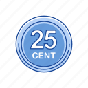 cents, gold coins, money, twenty five cents icon