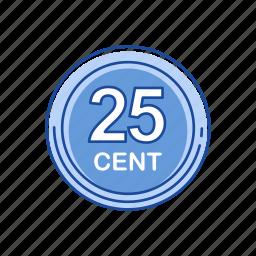cents, gold coins, money, twenty five cents icon