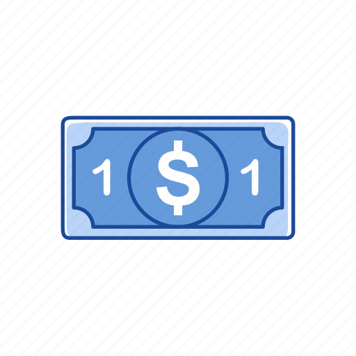 bills, cash, money, one dollar icon