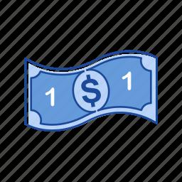 bill, cash, money, one dollar icon