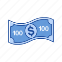 bill, cash, money, one hundred dollars icon