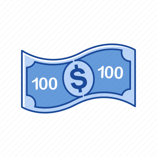 bill, cash, money, one hundred dollars icon