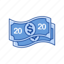bill, cash, money, twenty dollars icon