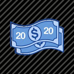 bill, cash, money, twenty dollars icon