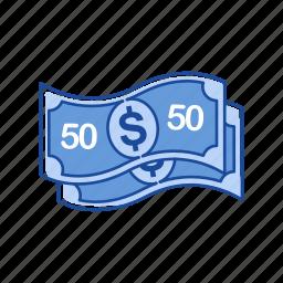 bill, cash, fifty dollars, money icon