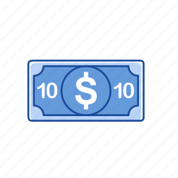 bills, cash, money, ten dollars icon