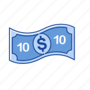 bill, cash, money, ten dollars icon