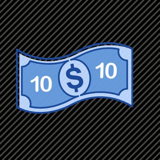 bill, cash, money, ten dollars icon