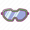 glasses, goggles, safety, sport, winter icon