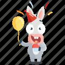 birthday, celebration, donkey, emoji, emoticon, smiley, sticker icon