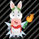 bottle, donkey, emoji, emoticon, fire, smiley, sticker icon