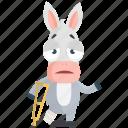 broken, donkey, emoji, emoticon, leg, smiley, sticker icon