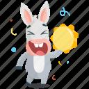 celebrate, donkey, emoji, emoticon, smiley, sticker icon