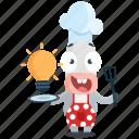 cook, donkey, emoji, emoticon, idea, smiley, sticker icon