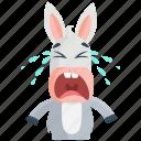 cry, donkey, emoji, emoticon, smiley, sticker icon