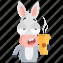coffee, donkey, drink, emoji, emoticon, smiley, sticker icon