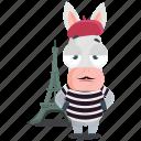 donkey, emoji, emoticon, france, french, smiley, sticker icon
