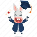 donkey, emoji, emoticon, graduate, graduation, smiley, sticker icon