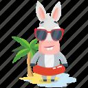donkey, emoji, emoticon, island, smiley, sticker icon