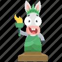 donkey, emoji, emoticon, lady, liberty, smiley, sticker icon