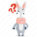donkey, emoji, emoticon, question, smiley, sticker, wonder icon