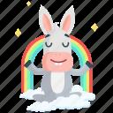 donkey, emoji, emoticon, meditation, rainbow, smiley, sticker icon