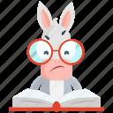donkey, emoji, emoticon, learn, read, smiley, sticker icon