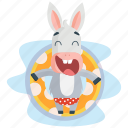 donkey, emoji, emoticon, pool, relaxation, smiley, sticker icon