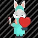 donkey, emoji, emoticon, heart, remove, smiley, sticker icon