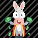 donkey, emoji, emoticon, money, rich, smiley, sticker icon