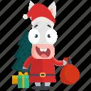 donkey, emoji, emoticon, santa, smiley, sticker icon
