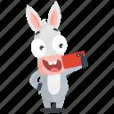 donkey, emoji, emoticon, selfie, smiley, sticker icon