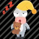donkey, emoji, emoticon, sleep, smiley, sticker, tired icon