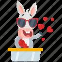 donkey, emoji, emoticon, love, smiley, spread, sticker icon