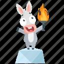 donkey, emoji, emoticon, goal, smiley, sticker, torch icon