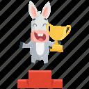 donkey, emoji, emoticon, smiley, sticker, trophy, winner icon