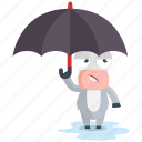 donkey, emoji, emoticon, smiley, sticker, umbrella, weather icon