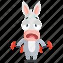 donkey, emoji, emoticon, gym, smiley, sticker, workout icon