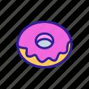 bitten, breakfast, caramel, donut, flakes, icing, sweet