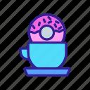 breakfast, caramel, cup, dipping, donut, sweet, tea