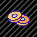 breakfast, caramel, donut, donuts, glazed, sweet, two