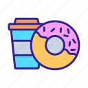 breakfast, caramel, coffee, donut, glazed, half, sweet
