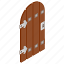 ancient, door, element, forged, isolated, isometric, wooden icon