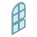arch, arched, door, frame, glass, isolated, isometric icon