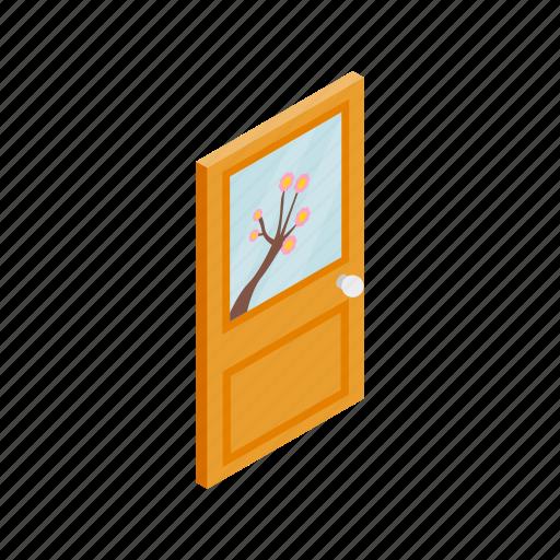 door, doorway, glass, isolated, isometric, lock, wooden icon