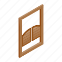 bar, design, door, isolated, isometric, saloon, western icon