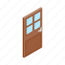 design, door, element, glass, isolated, isometric, wooden icon